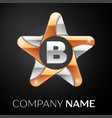 letter b logo symbol in the colorful star on black vector image vector image