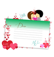 Letterhear for valentines green vector image vector image