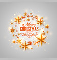 merry christmas and happy new year stars circle vector image