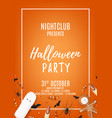 orange halloween party flyer with sweets vector image vector image