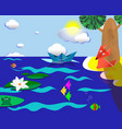 origami landscape with a lake vector image vector image