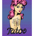 pin-up girl with tattoo vector image