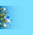 pine branches on blue background vector image