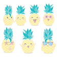 pineapple cute characters set for summer tropical vector image