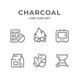 set line icons charcoal vector image