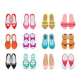 set of different types of womens shoes pair top vector image