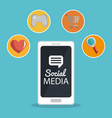 smartphone with social media marketing icons vector image vector image