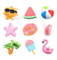 summer icons set sun ball inflatable flamingo toy vector image vector image