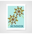 Summer poster with ship wheels vector image vector image