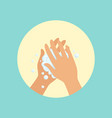 washing hands with soap palm to palm round vector image vector image