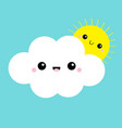 white cloud and yellow sun set smiling face vector image vector image