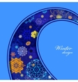 Winter curl design with pink and blue snowflakes vector image vector image