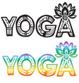 word yoga with lotus flower vector image vector image