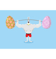 Strong rabbit holding barbell and Easter eggs vector image