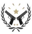 2 pistols in laurel wreath emblem vector image vector image