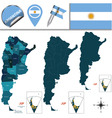 Argentina map with named divisions vector image vector image
