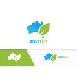 australia and leaf logo combination vector image vector image