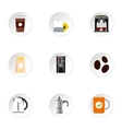 Beverage icons set flat style vector image vector image
