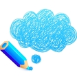 Blue cartoon pencil with doodle cloud vector image