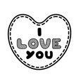 cartoon heart with cute text i love you for vector image