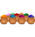 Ceramic pot of paint holi Festival of colors Holi vector image vector image