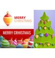 christmas fir tree toys banner set cartoon style vector image vector image