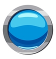 Circle blue button icon cartoon style vector image