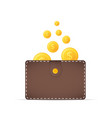 coins in the wallet golden coins with dollar vector image vector image