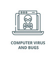 computer virus and bugs line icon linear vector image vector image