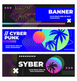 Cyberpunk banners palm leaves and sunset