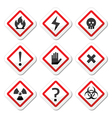 Danger warning attention square icons set vector image vector image