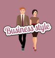 elegant couple in business style clothing vector image vector image