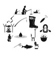 fishing black simple icons set vector image vector image