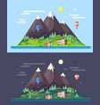 flat style design of mountains landscape vector image vector image