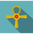 Golden Ankh symbol icon flat style vector image vector image