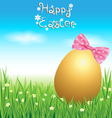 Golden Easter eggs on green grass vector image vector image