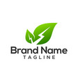 green leaf electric logo template vector image vector image