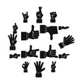 hand gesture icons set simple ctyle vector image
