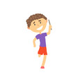 happy boy participating in a relay race kids vector image vector image