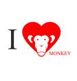 I love monkey Heart symbol in form of head monkey vector image vector image