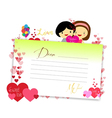 Letterhear for valentines yeallow vector image