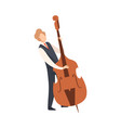 man playing double bass male jazz musician vector image vector image