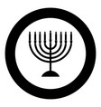 menorah for hanukkah icon black color in circle vector image vector image