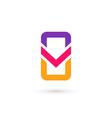 Mobile phone app letter V logo icon design vector image