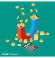 Money magnet investments attracting concept vector image vector image