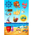 Ocean scene and beach objects vector image vector image