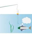 on fishing monologue of fish swimming around the vector image vector image