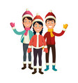 people with winter clothes vector image