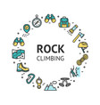 rock climbing round design template contour lines vector image vector image