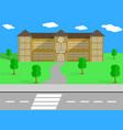 school building and schoolyard vector image